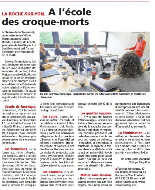 Article Journal du Pays Yonnais - Ecole de Funétique
